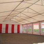 Partytält,6x12,röd.vit,insid